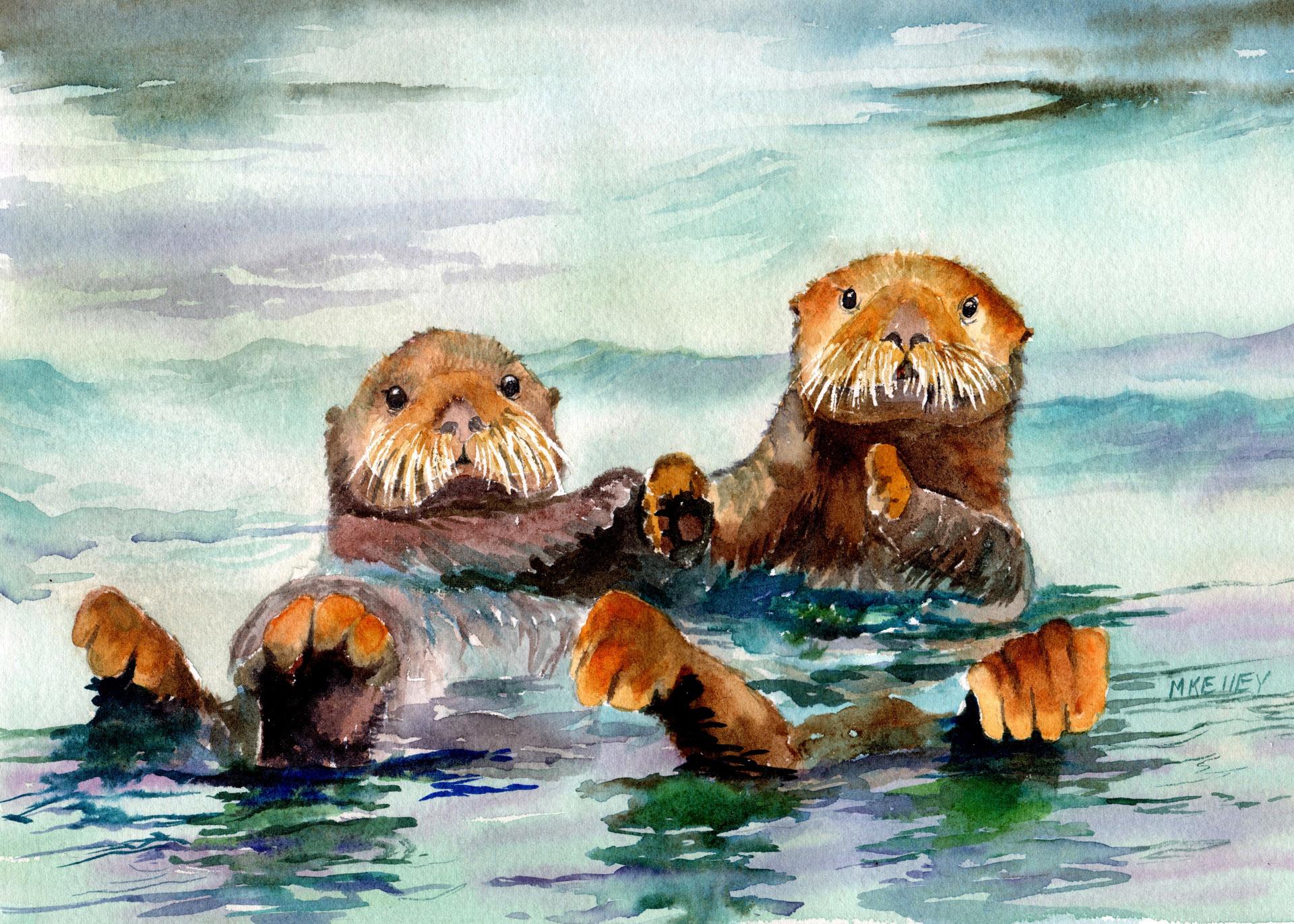 Holding Hands Original Alaskan Watercolors