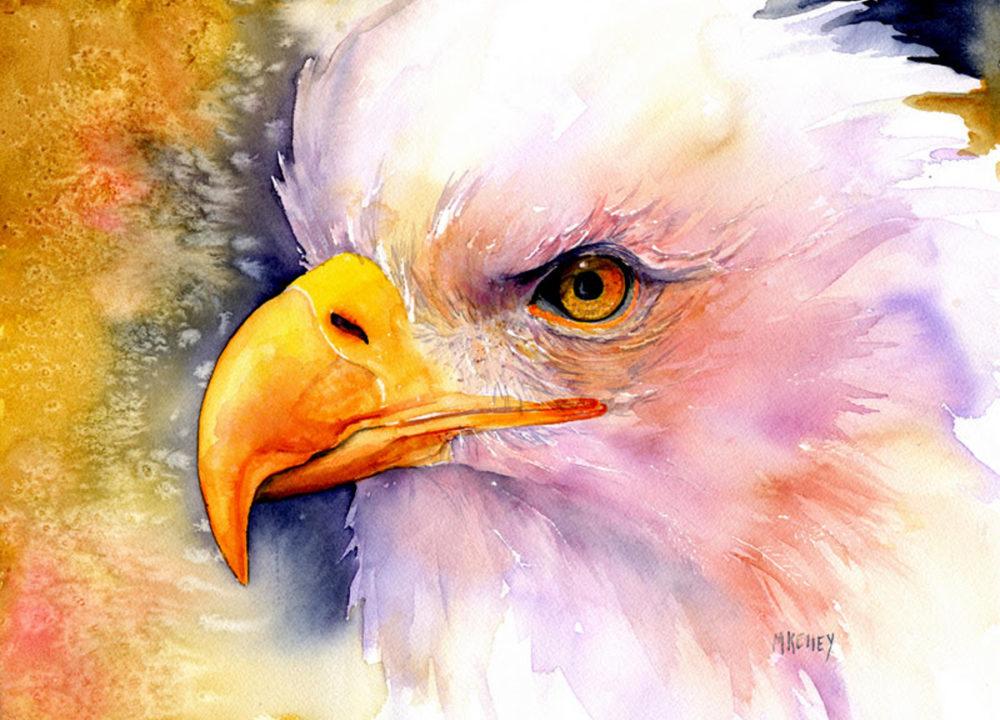 Custom Alaskan Watercolor Large Eagle
