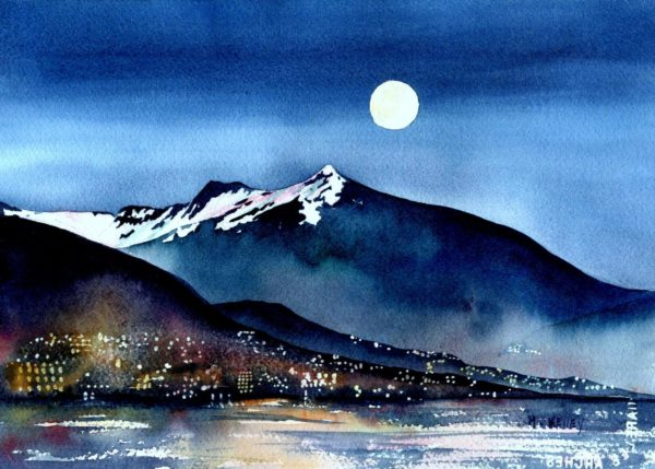 Original Alaskan Watercolors [Ketchikan Night]