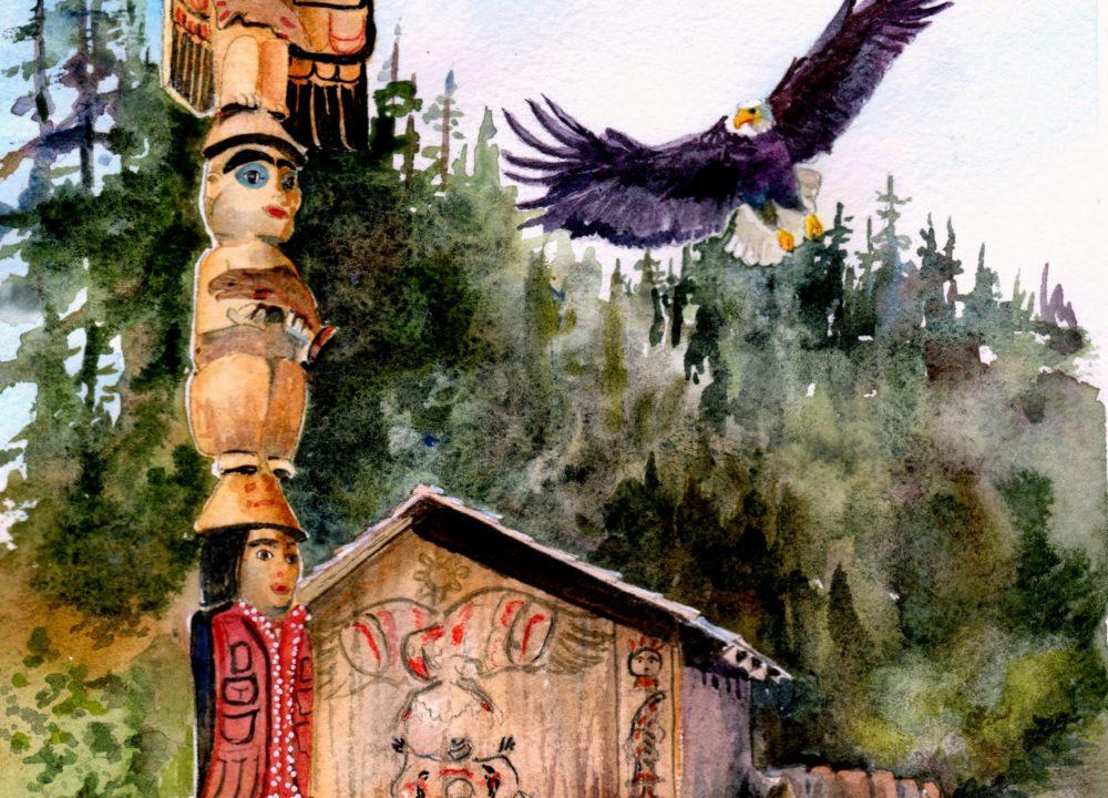 Original Alaskan Watercolors [totempole]