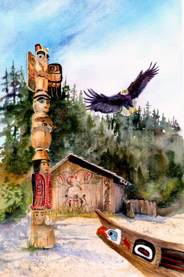 Original Alaskan Watercolors [totempole]