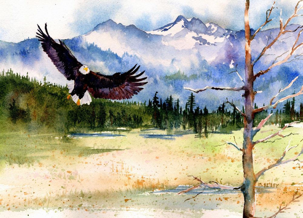 Custom Watercolor of Eagle and Mountain from Alaska
