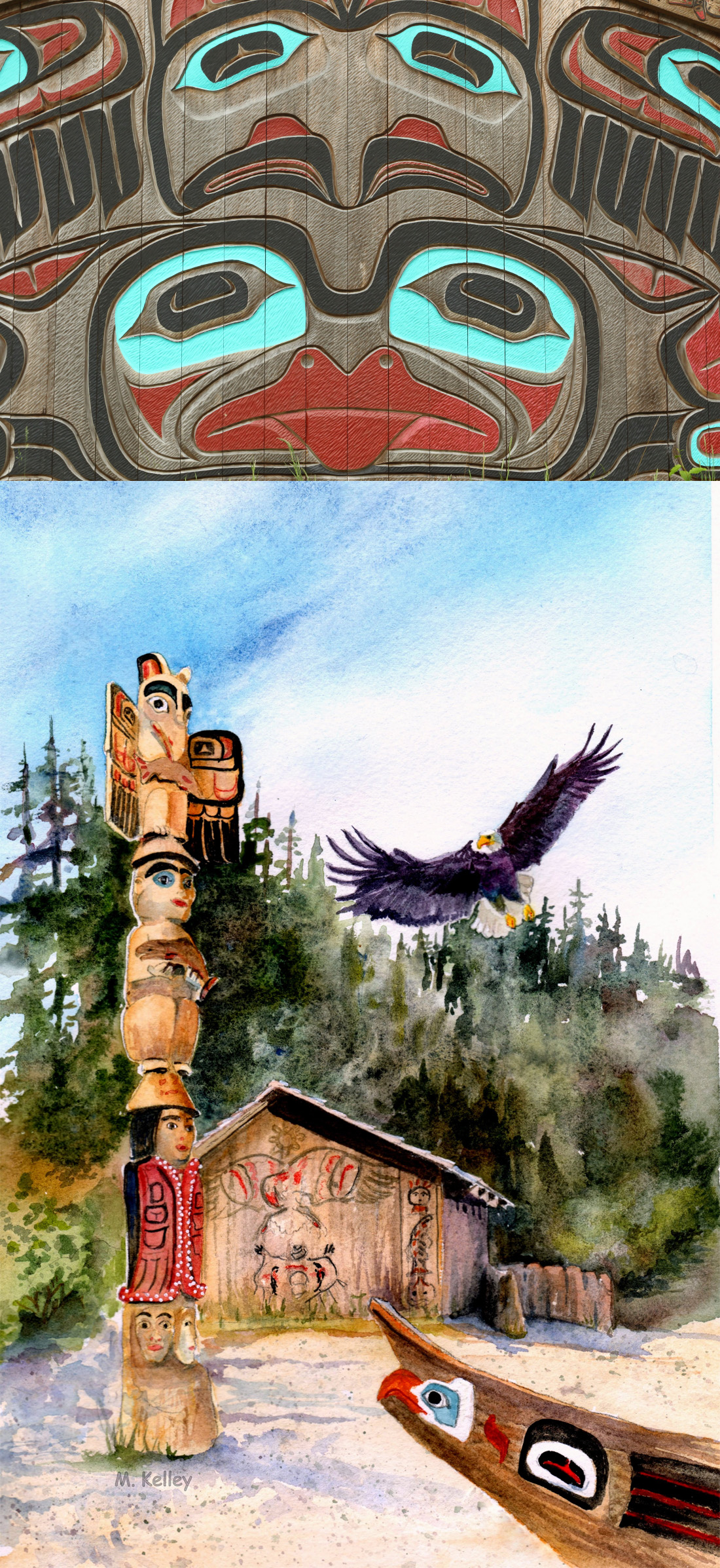 Totem Poles and Indian art in Ketchikan Alaska